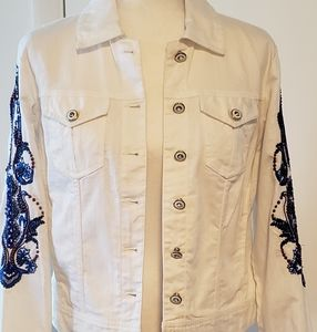 Chico's  Denim  Jacket With Beaded Design On The S